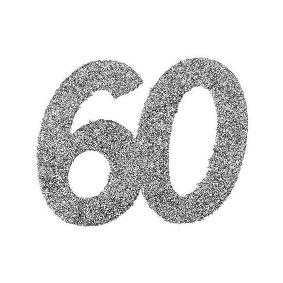 6 Chiffres paillettes argent 60 ans