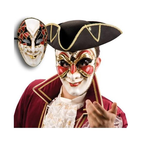 Masque vénitien rouge et noir