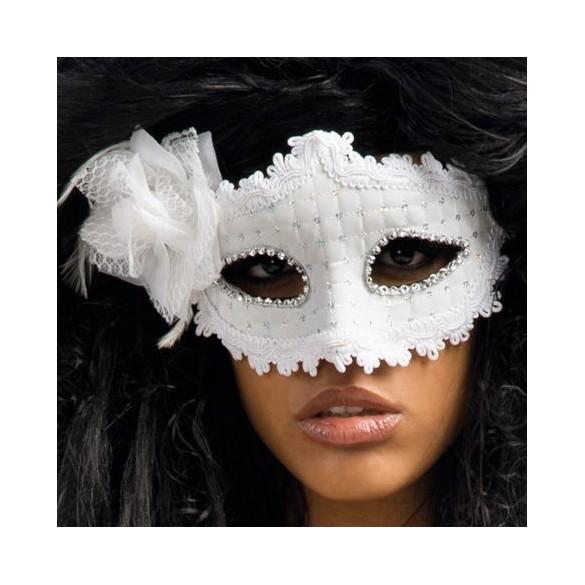 masque blanc avec fleur pour femme pas cher carnaval bal masqu. Black Bedroom Furniture Sets. Home Design Ideas