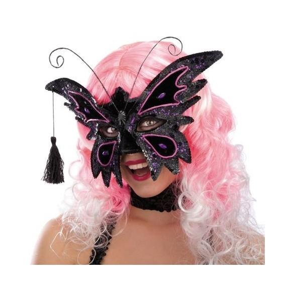 Masque loup papillon noir avec paillettes