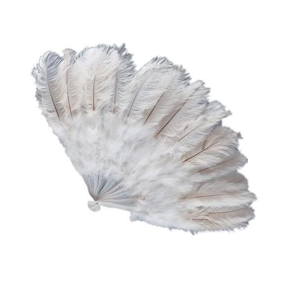 eventail g ant plumes blanches pour d coration cabaret. Black Bedroom Furniture Sets. Home Design Ideas