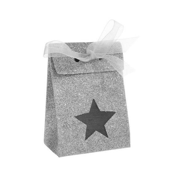 4 Boites étoiles argent paillettées