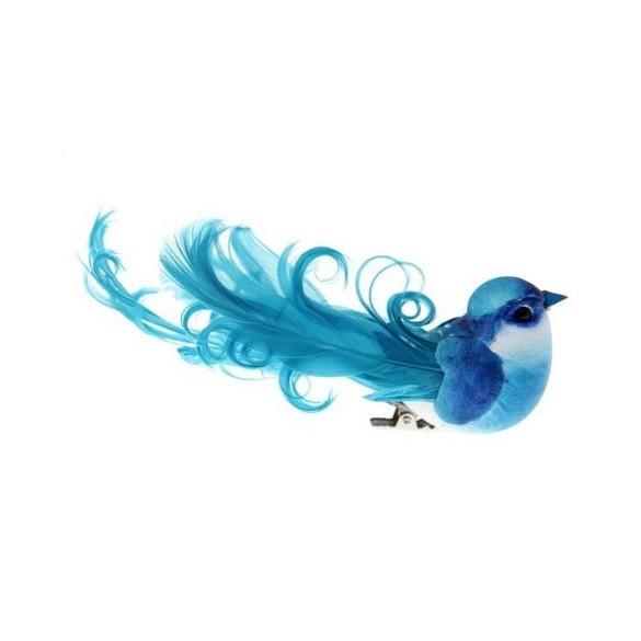 2 grands oiseaux sur pince turquoise