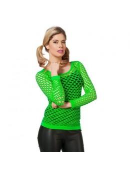 Déguisement tshirt résille fluo vert
