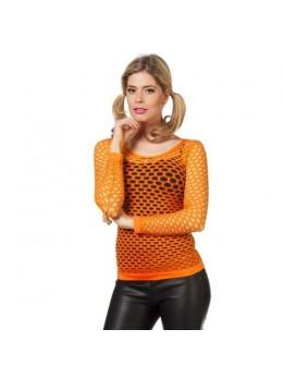 Déguisement tshirt résille fluo orange
