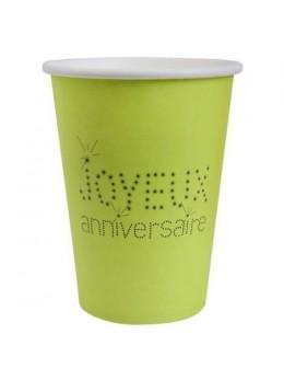 10 Gobelets anniversaire vert