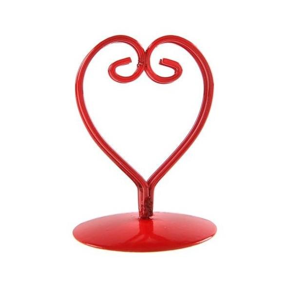 2 Marque place coeur métal rouge