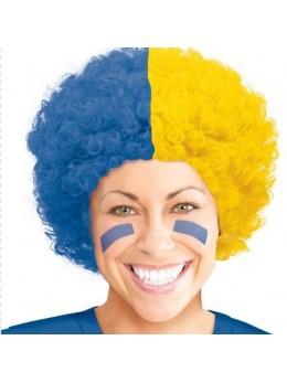 Perruque supporter bleu et jaune