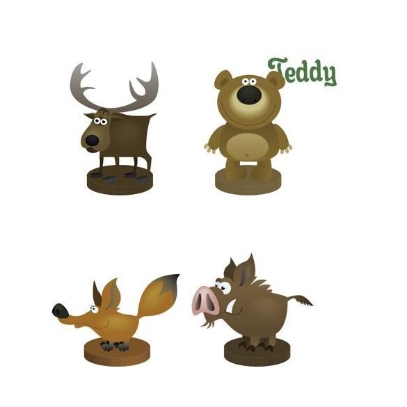 4 Marques places animaux de la forêt