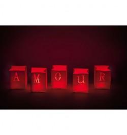 5 Sacs lumineux rouge amour 13cm