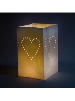 5 Sacs lumineux coeur 25cm