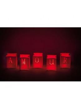 5 Sacs lumineux rouge amour 9cm