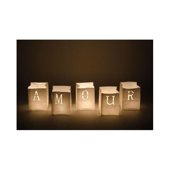 5 Sacs lumineux blanc amour 9cm