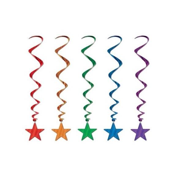 5 Suspensions étoile multicolores