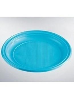 50 Assiettes plastiques rondes 17cm turquoise