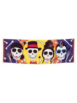 Bannière déco tissu Dia de los muertos