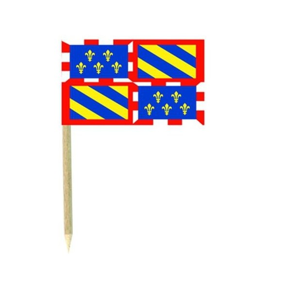 50 Mini drapeaux luxe Bourgogne