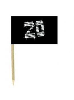 10 Mini drapeaux luxe VIP 20 ans