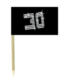 10 Mini drapeaux luxe VIP 30 ans