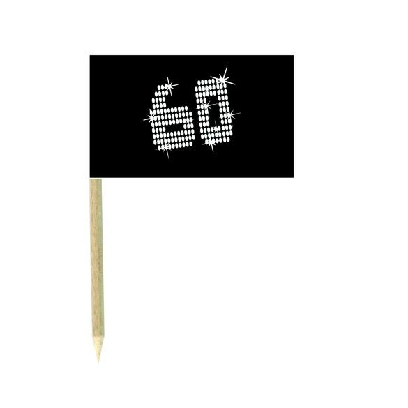 10 Mini drapeaux luxe VIP 60 ans