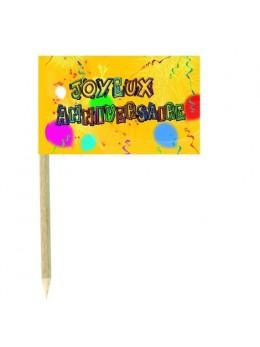 10 Mini drapeaux luxe Joyeux anniversaire