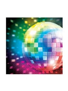 16 Serviettes cocktail disco fever