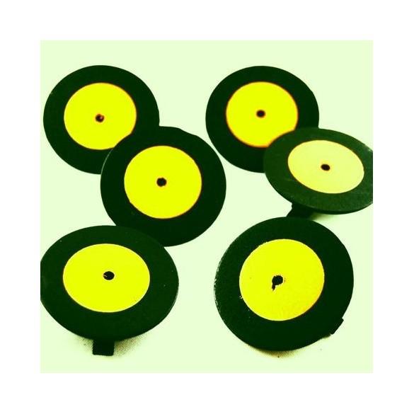 6 mini disques porte nom jaune