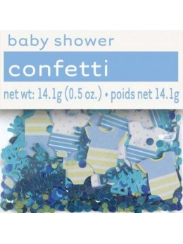 Confetti baby shower bleu