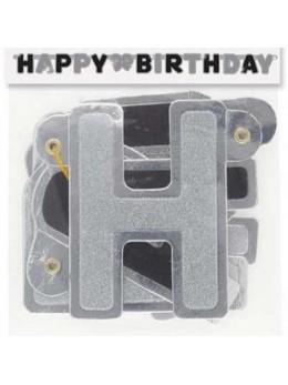 Guirlande lettres Happy birthday noire