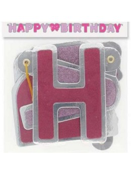 Guirlande lettres Happy birthday rose