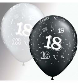 10 Ballons 18 ans noir et argent