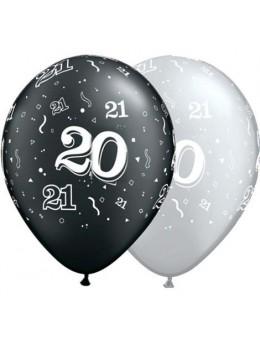 10 Ballons 20 ans noir et argent