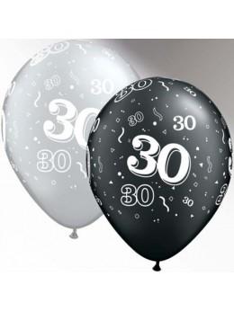 10 Ballons 30 ans noir et argent
