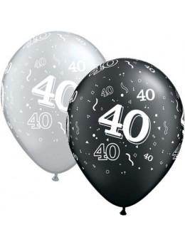 10 Ballons 40 ans noir et argent