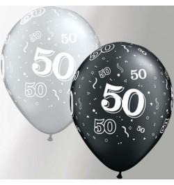 10 Ballons 50 ans noir et argent