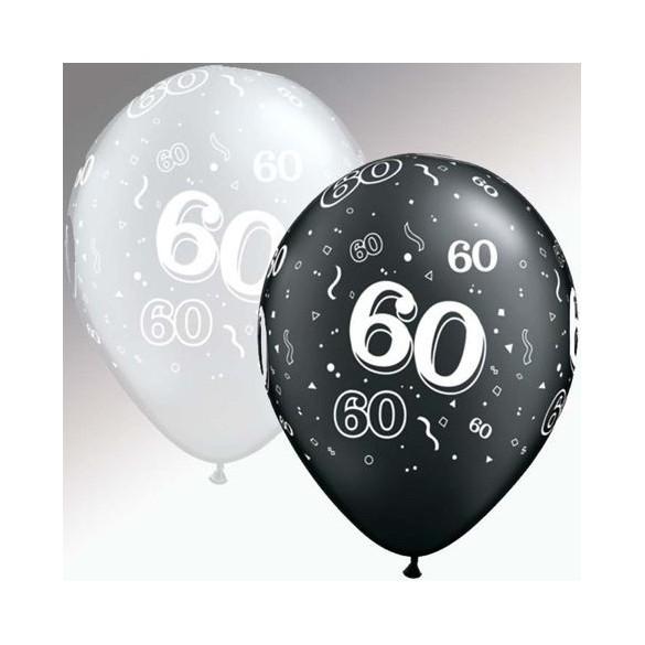 10 Ballons 60 ans noir et argent
