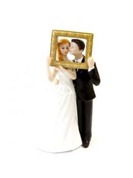 Figurines mariés dans cadre