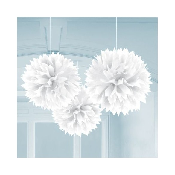 3 pompons Fleurs de soie 40cm blanc