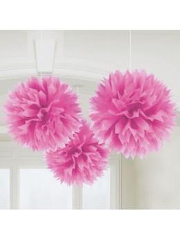 3 pompons Fleurs de soie 40cm fuchsia