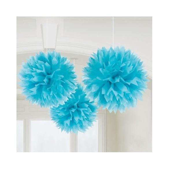 3 pompons Fleurs de soie 40cm turquoise