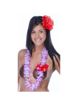 Collier hawai avec fleur hibiscus