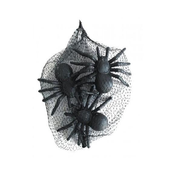 Set 3 araignées noires 11cm