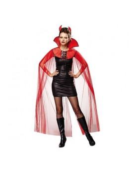 Cape col vampiresse rouge avec cornes