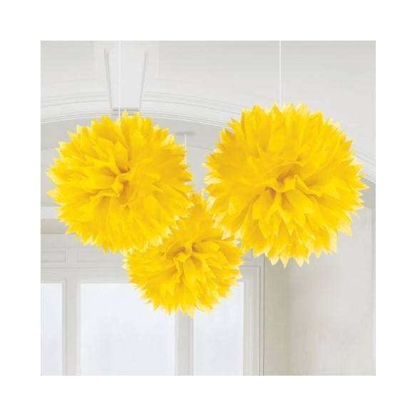3 pompons Fleurs de soie 40cm jaune