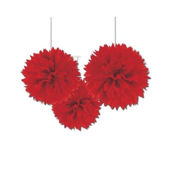 3 pompons Fleurs de soie 40cm rouge