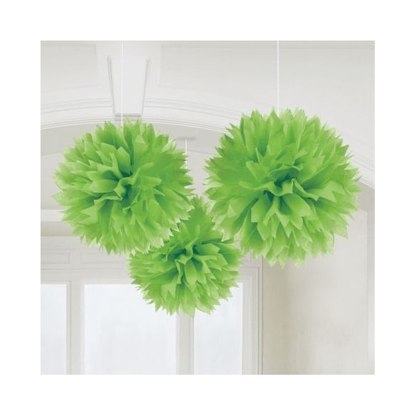 3 pompons Fleurs de soie 40cm vert
