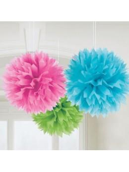 3 pompons Fleurs de soie 40cm multicolore