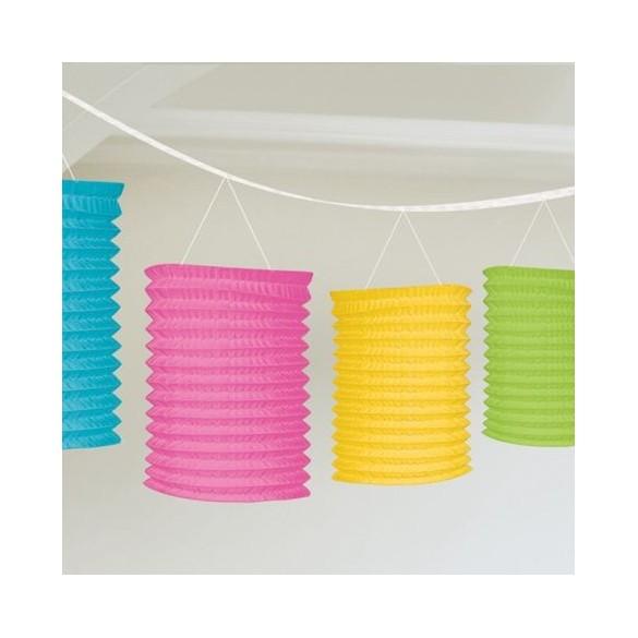 guirlande de lampions multicolore papier pas cher f te champ tre guinguette. Black Bedroom Furniture Sets. Home Design Ideas