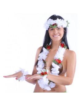 Set hawaien fleur tissu blanc