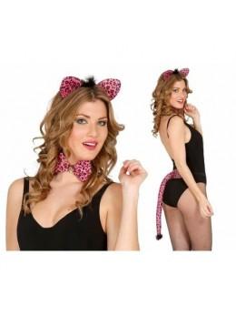 Set déguisement léopard rose